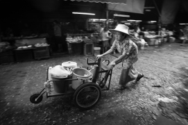 Old woman at Bangkok morning market